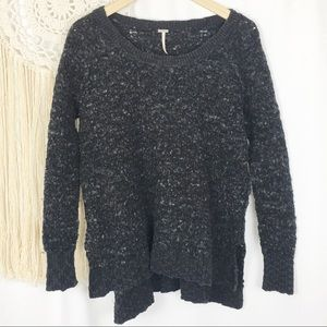 Free People Black Grey Fuzzy Wool Blend Sweater XS